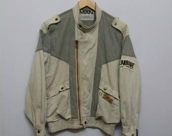 Mega Rare!!Vintage 80s//Kansai Man//Mozambique//Denim Biker Cafe Racer Jacket//Kansai Yamamoto