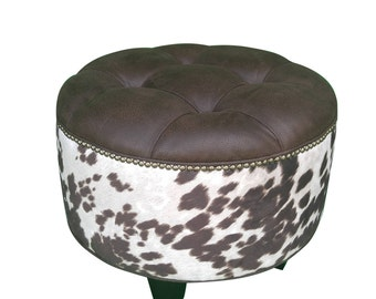 """24"""" VEGAN Leather and Cowhide Ottoman"""
