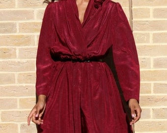 Vintage Party Dress 1980's Vintage Dress  80's Burgundy Dress Vintage Dress  Wedding Guest Dress Retro Women's Clothing Tall Women