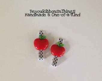Red Apples | White w/Black Dots | Hair Clips for Girls | Toddler Barrette | Kids Hair Accessories | No Slip Grip