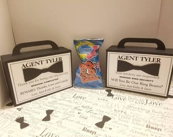 """4""""x 1.5""""x 3"""" Small Ring Bearer Proposal Box and Ring Pop, Ring Security, Will You Be My Ring Bearer, Ring Bearer Gift, Ring Bearer Card"""