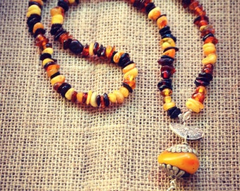Polish Amber Necklace Slavic Folkloristic Ethnic Hippie Bohemian Vintage Tribal Pagan Tibet bead