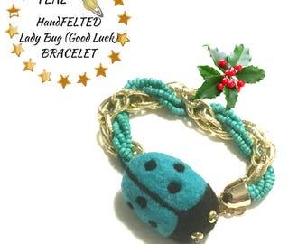 Felted Teal Bracelet, Teal Wool Beaded Bracelet, Original Art Bracelet, Lucky Charm Gift, Unique Gift Bracelet, Needle felted Bracelet