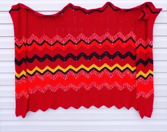Red, Black, Yellow, & Pink Chervon Pattern Afghan