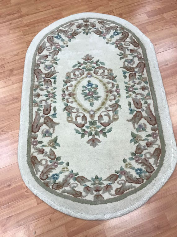 "2'10"" x 4'6"" Oval Chinese Aubusson Oriental Rug - Hand Made - 100% Wool"