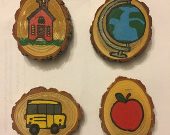 School Time Magnet Set, Stocking Stuffer, Gift Idea, Under 15, Hand Painted Magnets, Wood Magnets, Teacher Gift