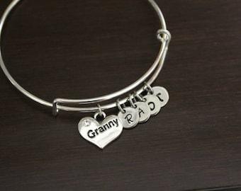 Granny Bangle - Granny Jewelry - Granny Gift - Granny Bracelet - Granny Birthstones - Granny Initials - Grandkids Gift To Granny - Bst/In