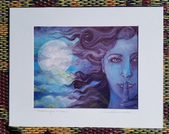 """blue black hair beauty full moon clouds starry night """" Goodnight Moon"""" Nature lover sisters art gift 8x10 print or card of original painting"""