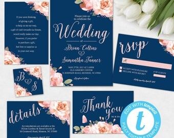 Navy Blush Floral Wedding Invitation Printable Template   Blush And Navy  Editable Wedding Invitation Set