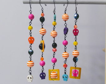 Day of the Dead, Halloween Ornament Set of 5