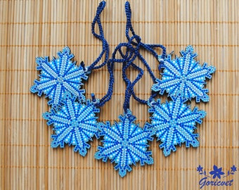 Christmas ornaments Snowflake decoration Painted decoration Wooden Christmas Decoration Blue holiday decor rustic christmas gift for friends