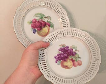 Schwarzenhammer Reticulated Bavarian Fruit Plates-Set of 2