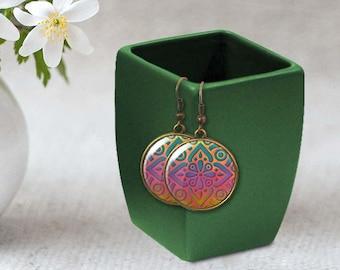 Boho earrings, Moroccan earrings, Tile earrings, Ethnic earrings, Geometric earrings, Bohemian jewelry, Wearable art, Personalized, 5118-4