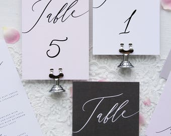Everly Modern Calligraphy Table Numbers, Elegant Table Numbers, Wedding Table, Printable Table Numbers or Printed Table Numbers