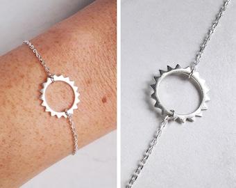 Bracelet with silver Sun pendant Sun Bracelet with silver circle Bracelet Sterling Bracelet end modern silver Bracelet for women