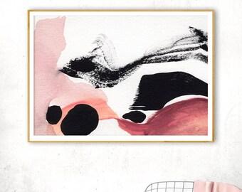 Horizontal Wall Art, Brush Strokes Print, Blush Abstract Art, Modern Printable Poster, Ink Painting, Pink Watercolor, Abstract Brush Art
