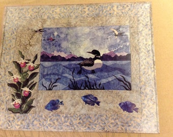 "McKenna Ryan ""Loon and Ladies"" quilt pattern, Pine Needles Designs quilt pattern, Up North loon quilt, appliqué quilt, loon quilt"