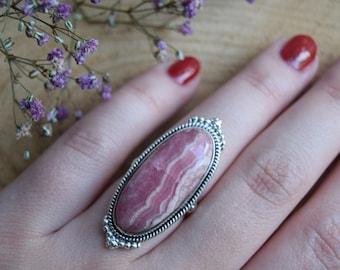 Rhodochrosite Ring, Sterling Silver Ring, Boho Ring, Size 8 Ring, Handmade Rhodochrosite Jewelry, Gemstone Ring, Gift for women, Pink ring