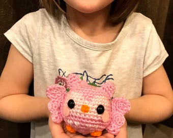 Baby Owlet Amigurumi Plush with Heart Accents