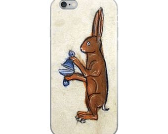 Medieval rabbit iPhone case from Middle Ages illuminated manuscript. Great Easter Bunny gift for animal lovers!