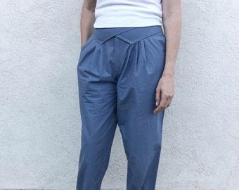 80s HIGH WAIST pleated baggy blue pants by Ashley Brooke