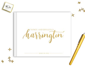 Real Gold Foil Wedding Guest Book Landscape Horizontal Gold Foil Guest Books Custom Guestbook Modern Wedding Script Wedding - Written Script