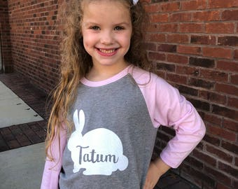 Personalized Easter Shirt - Girls Easter Shirt - Bunny Shirt - Easter Raglan- Easter Kids - Easter Shirt Girls