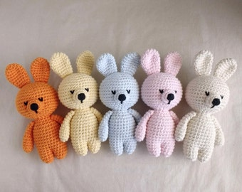 Organic Cotton Crochet Amigurumi Stuffed Toy Bunny Rabbit Baby Shower Present for Newborns Gift for Boy Girl