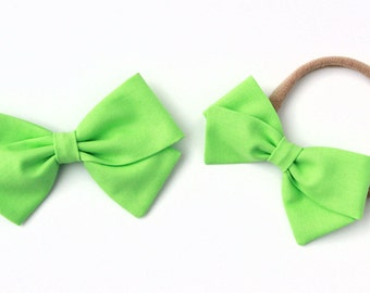 Lime green bow, Fabric Bows - Nylon Headbands and Clips for Babies and Toddlers