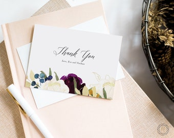 Thank You Cards, Wedding Thank You Cards, Floral Thank You Cards, Thank You Note, Printable Thank You Card, Personalized Thanks, #PNG