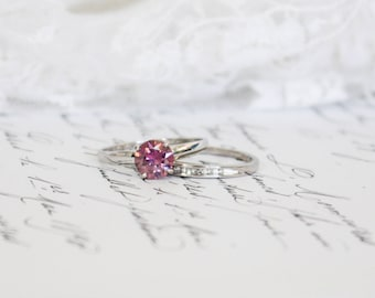 6.80mm Pink Moissanite and Diamond Engagement and Wedding Ring Set in 9K/9ct White Gold