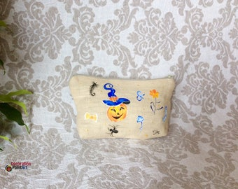 Hand painted Orange Pumpkins Zipper Pouch / Make up Bag /Tote/Pouch /Travel Case/Halloween/Fall holidays/Halloween gift/hat/spider/toadstool