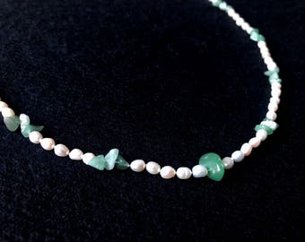 Jade, Freshwater Pearl & Sterling Silver Necklace