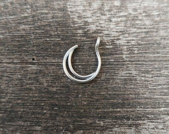 FAKE Nose Ring Sterling Silver Moon Nose Ring, No Piercing Needed, 20, 22 Gauge, Fake Nose Ring Hoop, Nose Ring, Fake Nose Cuff Piercing