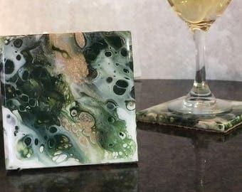 Tile coasters, painted tile coaster set, drink coaster ceramic, tile coasters, green coasters set,  gifts under 50
