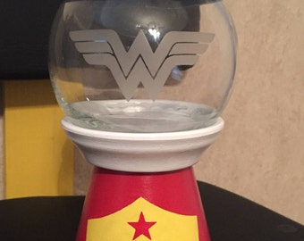 Wonder woman decor; candy dish, wonder woman faux gumball machine, wonder woman tiara, superhero girls, wonder woman headpiece, Diana Prince
