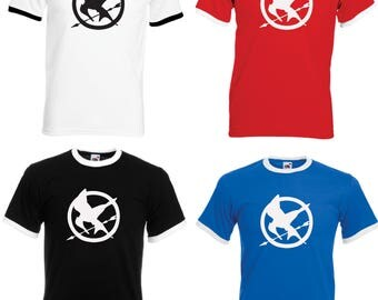 The Hunger Games Mocking Jay  Adult Ringer T-Shirt - All Sizes & Colours
