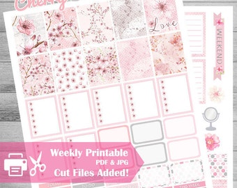 Cherry Blossom Printable Planner Stickers, Spring Garden, Sale, Weekly Kit, Pink, Grey, Floral, flowers, Glam, Cut files, use with ECLP