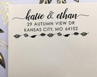 Return Address Stamp, Fall Wedding Address Stamp, Self-Inking Stamp, Wooden Stamp, Rubber Stamp, Autumn Wedding Stamp, Leafy Address Stamp