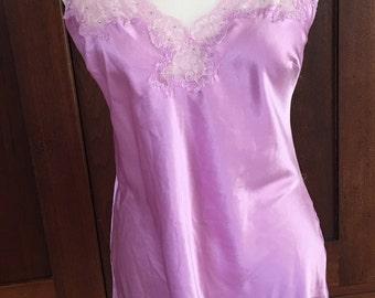 M / Victoria's Secret / Chemise /  Slip / Dress / Lavender / Purple / Vintage Lingerie / Medium