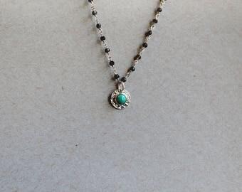 Turquoise and Smokey Quartz Necklace