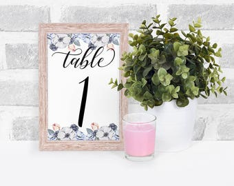 Floral Table Number, Floral Wedding Table Numbers, Wedding Table Numbers, Table Number Cards