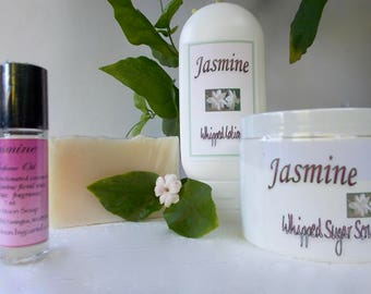 Jasmine Gift Set - Perfume Oil - Whipped Sugar Scrub - Whipped Body Lotion - Cold Process - Artisan Soap - Jasmine Sambac - Gift for Her