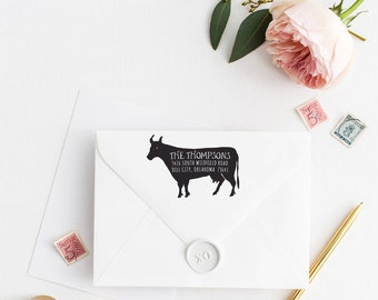 Custom Return Address Stamp, Self Ink Return Address Stamp, Rustic, Bull, Farmhouse Calligraphy Address Stamp Return Address Stamp No96