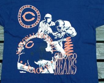 Vintage 80's / 90's Chicago Bears NFL t-shirt Ravens Athletic Large