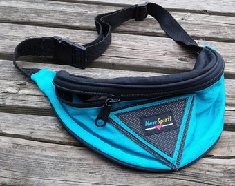 "Vintage 80's / 90's ""New Spirit"" Black Teal Blue Pink Yellow Neon Fanny Pack Waist Bag"