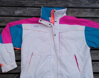 Vintage 90's White Columbia Windbreaker Jacket Pink / Teal / Peach / Bright Neon Colours Women's XL