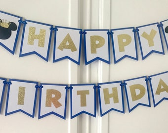 Mickey Mouse Royal Blue And Gold Theme Birthday Banner Party Decoration