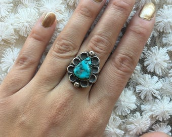 Vintage Sterling Silver + Turquoise Native American Southwestern Women's Large Flower Ring size 7