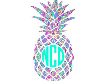 Lilly Pineapple Decal, Lilly Inspired Decal, Car Decal, Pineapple Decal, Yeti Decal